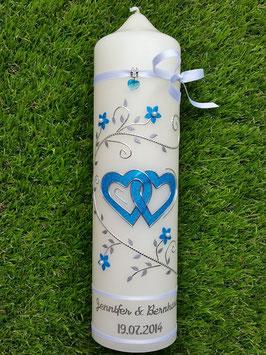 Hochzeitskerze Türkis Holoflitter & Silber HK204 / Bänder Weiß