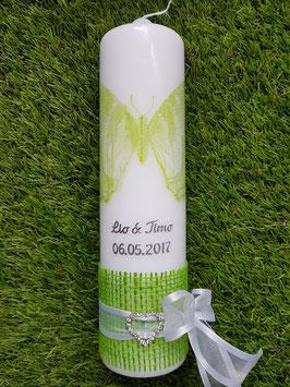 Hochzeitskerze HK301 SShabby Schmetterling Grasgrün