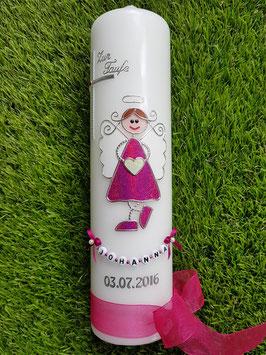 Taufkerze Schutzengelkerze SK119 Pink Holoflitter / Buchstabenkette / Organzaschleife dunkel