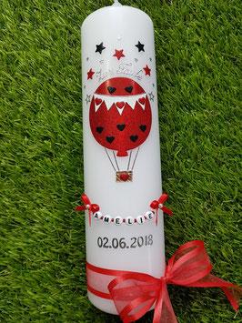Taufkerze TK105 Sterne Heißluftballon in Rot - Schwarz Holoflitter