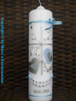 Taufkerze TK109 Klassisch Hellblau Flitter & Buchstabenkette