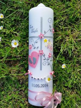 Taufkerze Kreuz TK109-5 Rosa Flitter-Silber