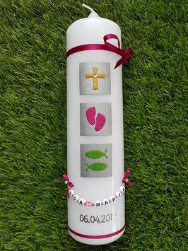 """Taufkerze TK310 """"Glaube Liebe Hoffnung"""" Regenbogen Holoflitter / Bänder Pink"""