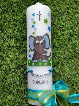 Taufkerze Elefant TK210-8 Anthrazit-Türkis-Hellblau Holoflitter