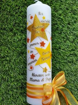 Taufkerze od. Kerze für Sternenkinder KSK301 Gelb-Orange Uni & Holoflitter