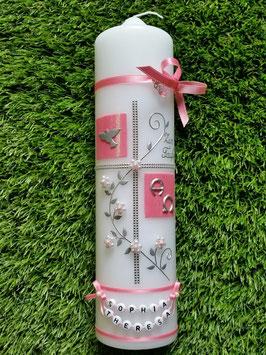 Taufkerze TK110 Klassisch Rosa Flitter & Kette mit Alpha & Omega