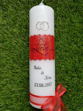 "Hochzeitskerze HK221 ""Liebe"" Rot Holoflitter"
