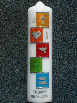 Taufkerze TK315 Regenbogensymbole