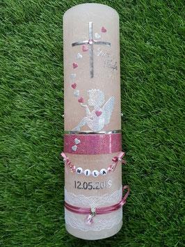 Vintage Taufkerze Silhouetten Schutzengel SK154-1-V / Kerze in Apricot / Silber-Altrosa Holoflitter