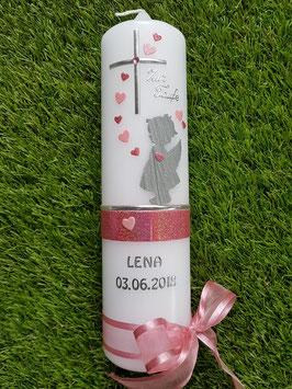 Taufkerze SK154-a SCHUTZENGEL mit Herzen in Silber-Altrosa-Rosa Holoflitter & Buchstabenkette