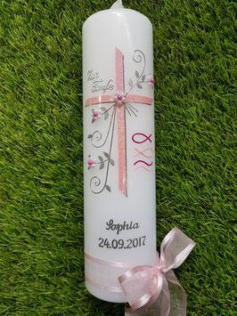 Taufkerze TK137 Fisch & Wellen in Rosa-Pink Holoflitter / Silberschrift