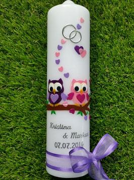 Hochzeitskerze Verliebte Eulen HK216-1 Brombeerlila-Flieder & Rosa-Pink Flitter mit Ringe!