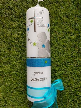 Taufkerze SK153 SCHUTZENGEL Türkis-Apfelgrün Holoflitter / Silberschrift