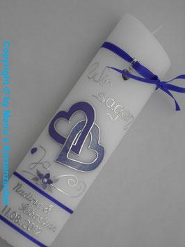 Hochzeitskerze Lila HK205 Wir sagen Ja!
