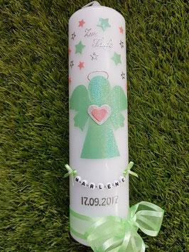 Taufkerze SK156-1 SCHUTZENGEL Hellmint-Silber-Rosa Holoflitter