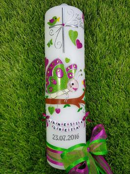 Taufkerze Schmetterling TK183 in Apfelgrün-Pink Flitter mit Buchstabenkette