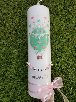 Taufkerze TK105 Heißluftballon in Rosa-Zartmint Holoflitter