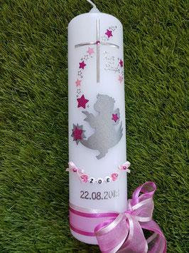 Taufkerze SK154-2 SCHUTZENGEL sitzend Rosa-Pink Holoflitter & SBuchstabenkette / Doppelschleife