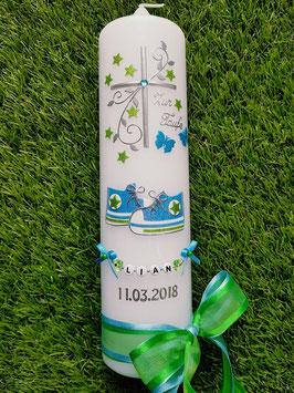 Taufkerze TK099-2 Babychucks Pastellblau-Apfelgrün Holoflitter / Doppelband / Filigran