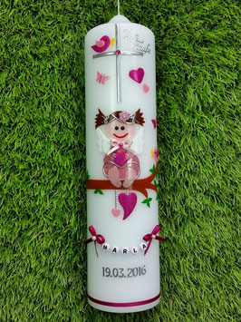 Taufkerze SK155 SCHUTZENGEL Altrosa-Rosa-Pink Holoflitter/ Schmales Satinband