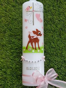 Taufkerze Bambi TK188 Braun-Rosa Uni & Holoflitter mit Buchstabenkette©