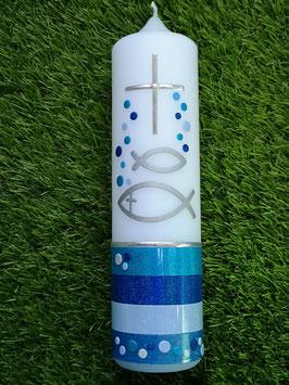 Taufkerze Fische Silhouetten TK148-U Türkis-Dunkelblau-Hellblau-Lichtblau Holoflitter mit Blubberblasen