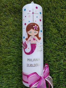 Taufkerze TK430 Meerjungfrau Rosa-Pink Holoflitter