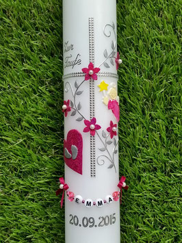 Kommunionkerze Kreuz KK109-5 Pink Holoflitter & Silber