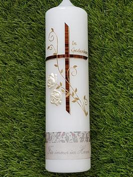 Trauerkerze Kreuz mit Rosenranke TRK511