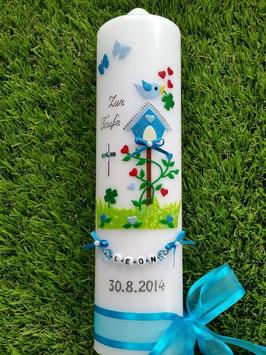 Taufkerze Vogelhäuschen TK 217 Türkis-Hellblau Flitter