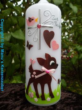 Patenkerze Bambi TK188 Rosa-Braun Flitter