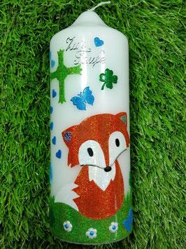 Paten oder Tischkerze TK209 Fuchs Orange-Weiß-Apfelgrün Holoflitter