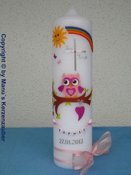 Taufkerze EULE mit Regenbogen TK181 Rosa-Pink Flitter