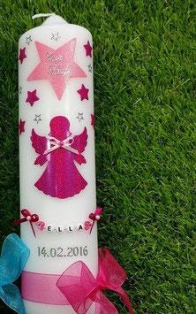 Taufkerze SK156-2 SCHUTZENGEL Pink-Rosa Holoflitter