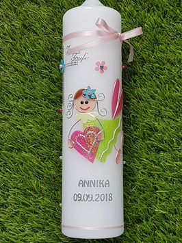 Taufkerze SK116 Schutzengel Mädchen Apfelgrün-Fuchsia-Pastellblau Holoflitter mit Blüten / Silberschrift
