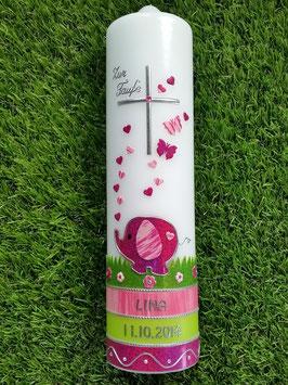 Taufkerze Elefant TK210-3 Pink Holoflitter-Rosa