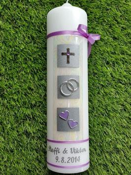 Sehr edle Hochzeitskerze HK210 Creme Marmoriert-Flieder-Silber mit Kreuz