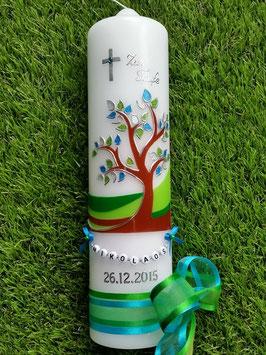 Taufkerze  Lebensbaum mit Buchstabenkette  Türkis-Grasgrün TK 400