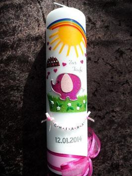 Taufkerze Elefant TK210 Pink-Rosa Flitter mit Sonne & Regenbogen