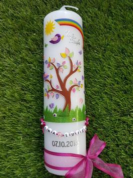 Taufkerzen  Lebensbaum mit Buchstabenkette in Pink TK400-2 / Mit Regenbogen / Ohne Kreuz
