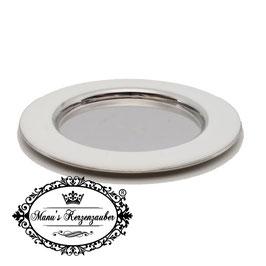 Kerzenteller KST 177 Weiß/Silber rund 12 cm