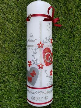 Hochzeitskerze HK109-1 Bordeaux Holoflitter mit Silber / Wachsblüten