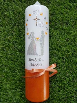 Hochzeitskerze HK251 Brautpaar mit Sterne Silber-Apricot-Orange Holoflitter