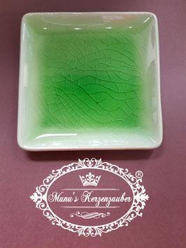 Kerzenteller Porzellan Viereck Apfelgrün KST