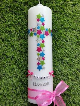 Taufkerze TK201 Kreuz Pink-Apfelgrün-Türkis-Silber Holoflitter & Kette