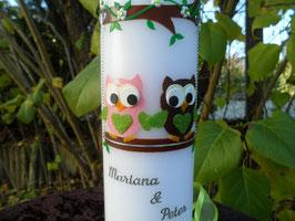 Taufkerze Eulen 2in1 TK225 Rosa-Apfelgrün & Braun-Apfelgrün Flitter
