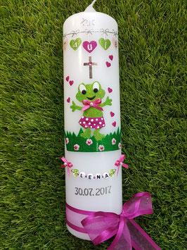 """Taufkerze TK282 """"Froschmädchen mit Herzchenkette"""" in Apfelgrün-Pink Holoflitter"""