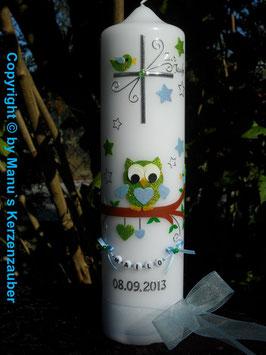 Taufkerze EULE das Original mit Buchstaben-Kette TK181 in Apfelgrün-Hellblau Flitter mit Sterne