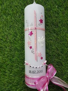 Taufkerze Kreuz mit Sterne TK190 Rosa Glitzer-Pink Holoflitter / 3D Taube / Doppelschleife