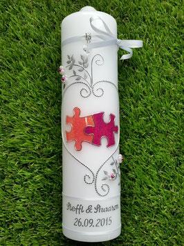 Hochzeitskerze Puzzle HK213 Lachs-Pink Holoflitter